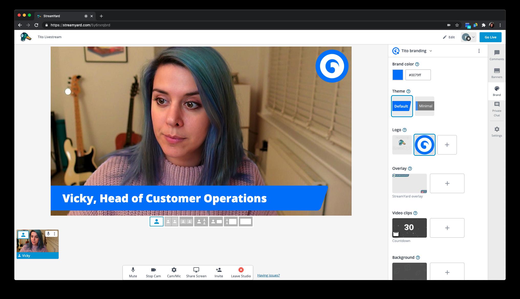 Screenshot of StreamYard interface